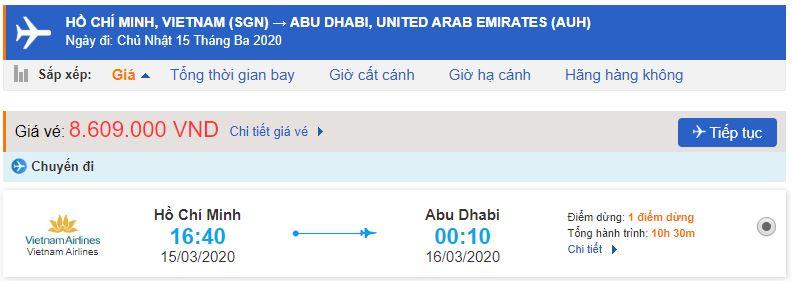 Giá vé máy bay đi Abu Dhabi Vietnam Airlines