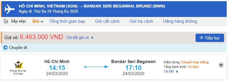 Giá vé máy bay từ Hồ Chí Minh đi Brunei