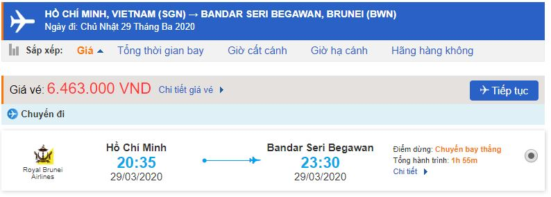 Vé máy bay đi Bandar Seri Begawan Royal Brunei Airlines