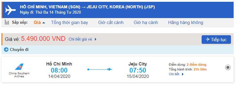 Giá vé máy bay đi Jeju Hàn Quốc bao nhiêu tiền?