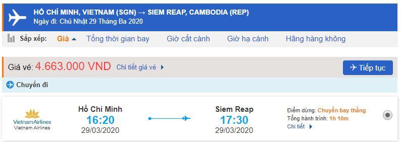 Giá vé máy bay từ Sài Gòn đi Siem Reap