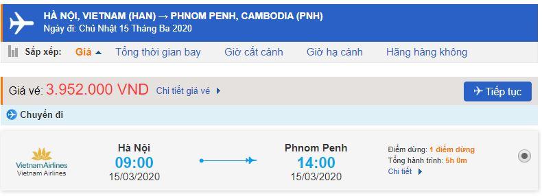 Giá vé máy bay Việt Nam Campuchia Vietnam Airlines