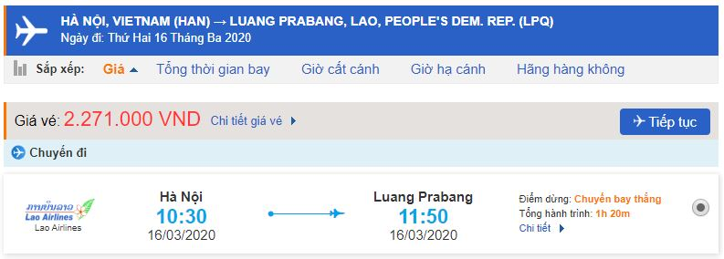 Giá vé máy bay đi Luang Prabang