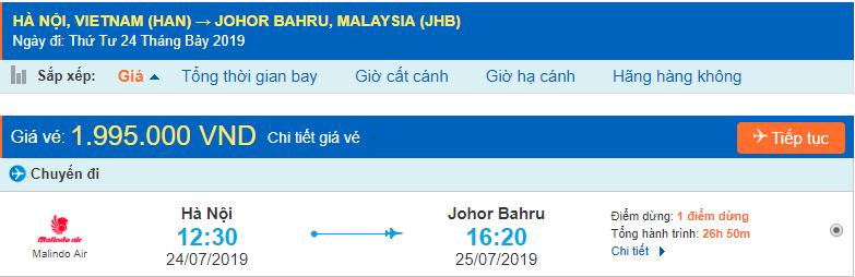 Vé máy bay đi Johor Bahru từ Hà Nội