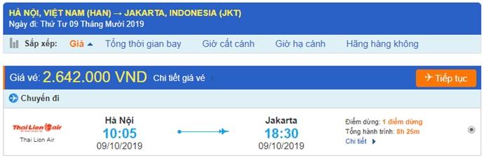 Giá vé máy bay từ Hà Nội đi Jakarta