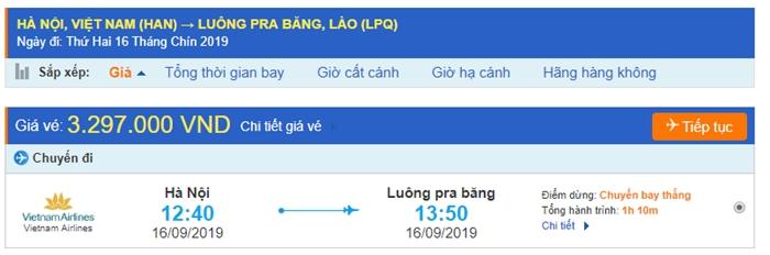 Giá vé máy bay Hà Nội đi Luang Prabang