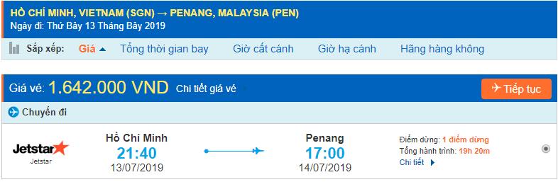 Vé máy bay đi Penang từ Hồ Chí Minh
