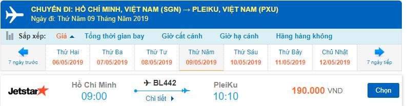 Giá vé máy bay đi Pleiku từ Sài Gòn Jetstar
