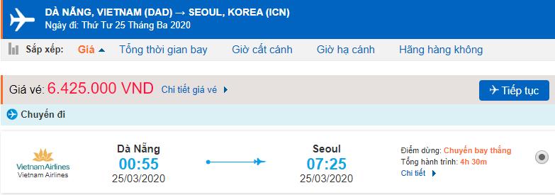 Vé máy bay từ Đà Nẵng đi Seoul Vietnam Airlines