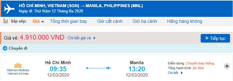 Vé máy bay Hồ Chí Minh Philippines Vietnam Airlines