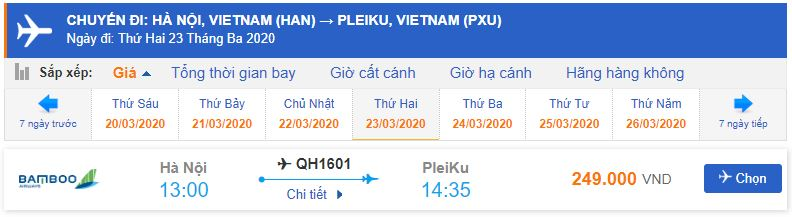 Giá vé máy bay đi từ Hà Nội đến Pleiku Bamboo Airways