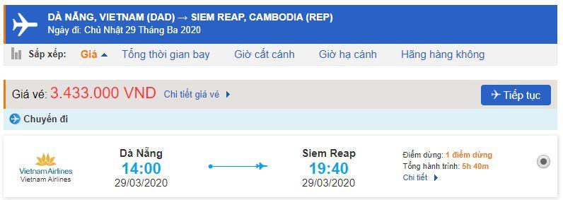 Vé máy bay Đà Nẵng Siem Reap Vietnam Airlines