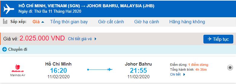 Giá vé máy bay tp Hồ Chí Minh đến Johor Bahru
