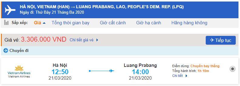 Giá vé máy bay đi Luang Prabang từ Hà Nội