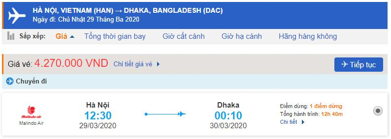 Vé máy bay đi Bangladesh từ Hà Nội