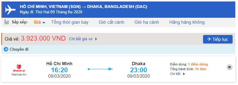 Vé máy bay đi Bangladesh từ Hồ Chí Minh