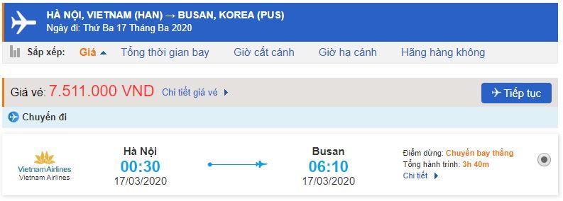 Giá vé máy bay đi Busan từ Hà Nội bao nhiêu tiền?