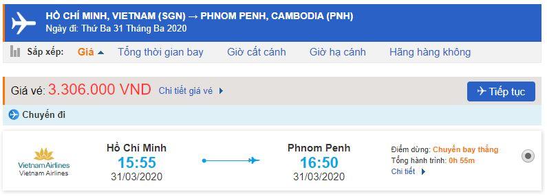 Vé máy bay đi Phnom Penh Vietnam Airlines