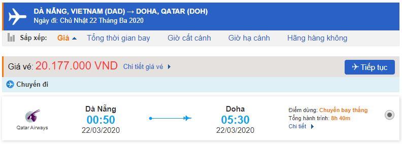 Vé máy bay đi Doha từ Đà Nẵng