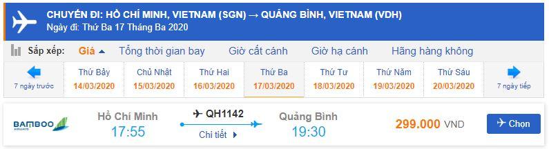 Vé máy bay Sài Gòn đi Đồng Hới Bamboo