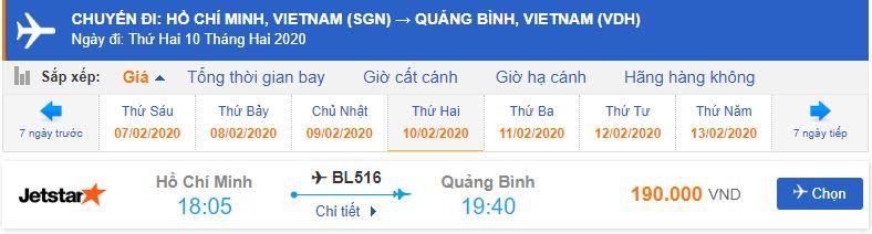Giá vé máy bay từ Sài Gòn đi Quảng Bình Jetstar