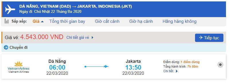 Giá vé máy bay Đà Nẵng đi Jakarta Vietnam Airlines