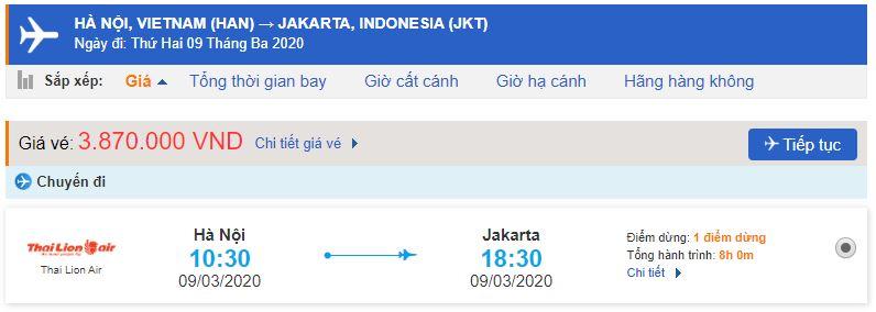 Vé máy bay Hà Nội đi Jakarta từ Thai Lion Air