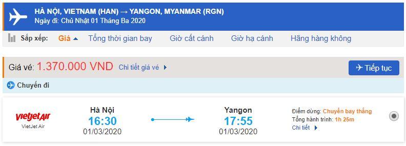 Giá vé máy bay Hà Nội Yangon Vietjet Air
