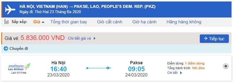 Giá vé máy bay đi Pakse từ Hà Nội