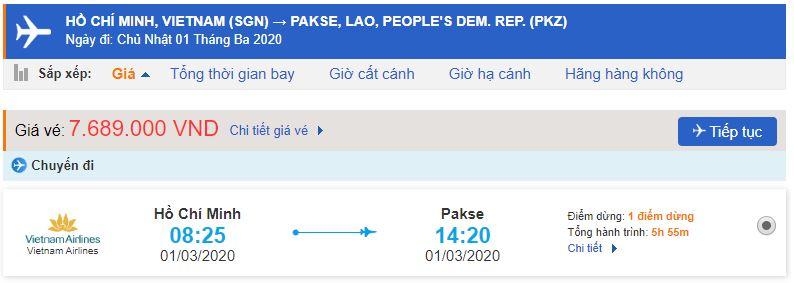 Vé máy bay đi Pakse từ Hồ Chí Minh