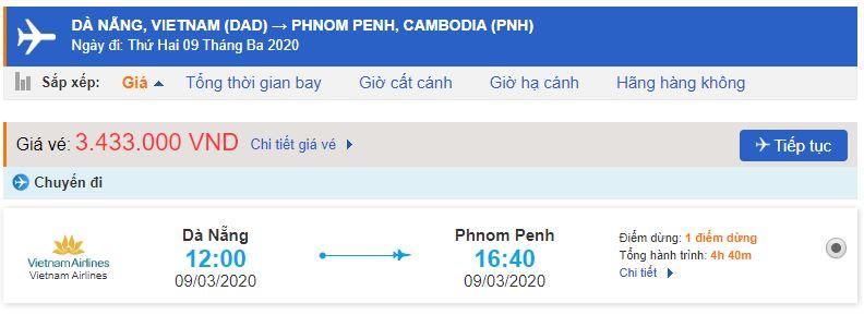 Giá vé máy bay đi Phnom Penh Vietnam Airlines