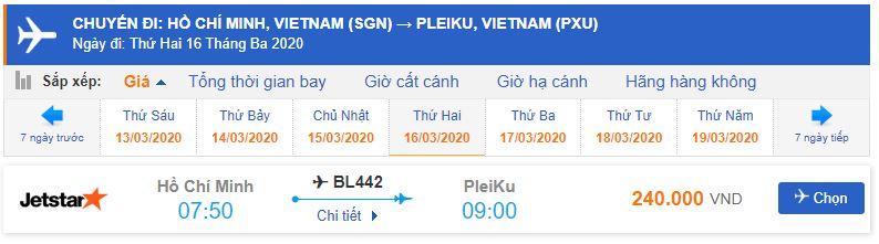 Giá vé máy bay Sài Gòn Pleiku Jetstar Pacific