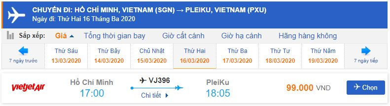 Vé máy đi Pleiku từ Hồ Chí Minh