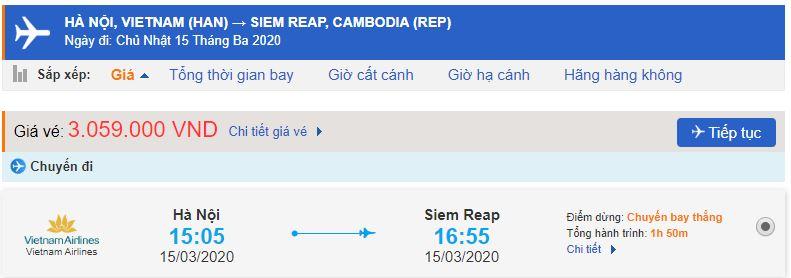 Vé máy bay Việt Nam đi Siem Reap Vietnam Airlines