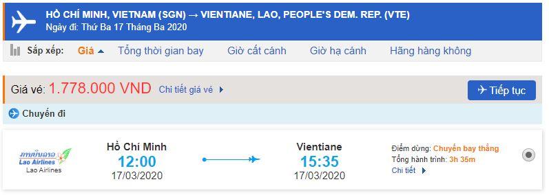 Vé máy bay đi Viêng Chăn
