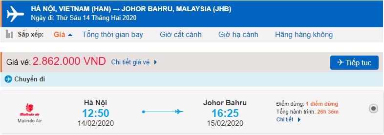Vé máy bay giá rẻ đi Johor Bahru Malindo Air