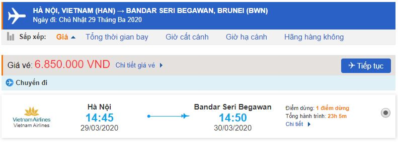Giá vé máy bay đi Bandar Seri Begawan Vietnam Airlines