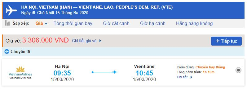 Giá vé máy bay đi Lào Vietnam Airlines