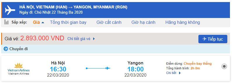 Giá vé máy bay đi Yangon Vietnam Airlines