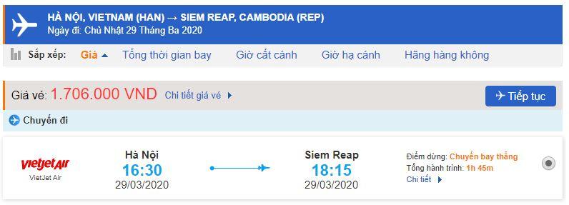 Vé máy bay Hà Nội Siem Reap Vietjet Air