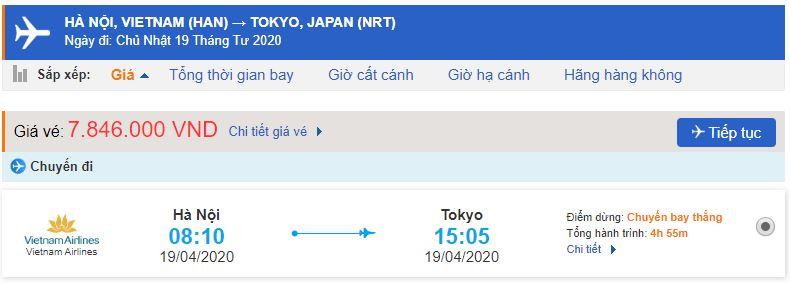 Giá vé máy bay đi Tokyo Vietnam Airlines