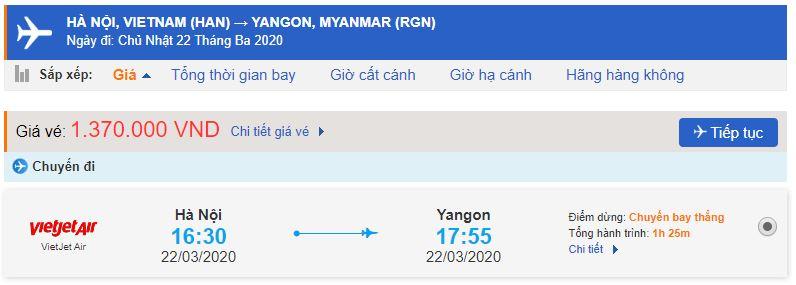 Vé máy bay Hà Nội Yangon Vietjet Air