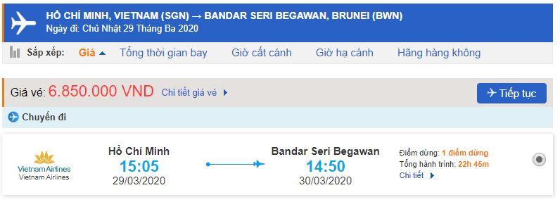Vé máy bay Hồ Chí Minh đi Bandar Seri Begawan