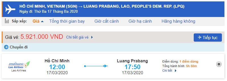 Vé máy bay Hồ Chí Minh đi Luang Prabang