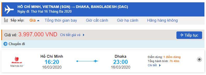 Vé máy bay Hồ Chí Minh đi Dhaka Malindo Air
