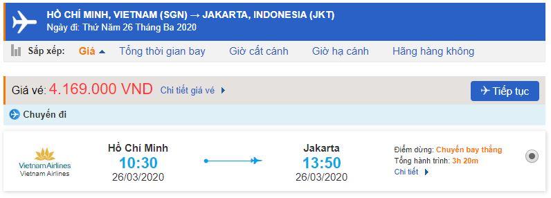 Vé máy bay Hồ Chí Minh đi Jakarta