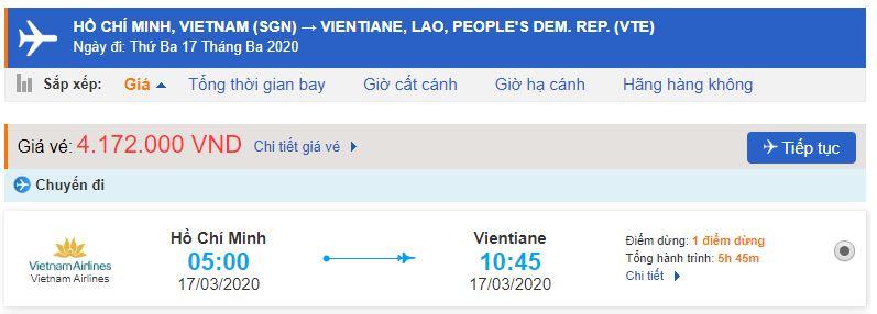 Giá vé máy bay Hồ Chí Minh đi Lào