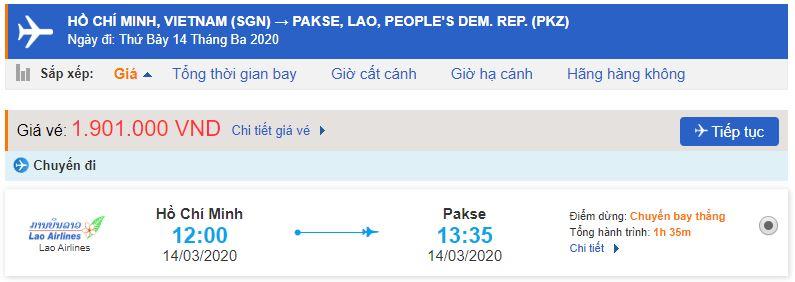 Vé máy bay Lao Airlines đi Pakse
