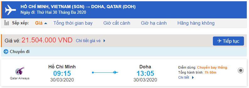 Giá vé máy bay Sài Gòn đi Qatar