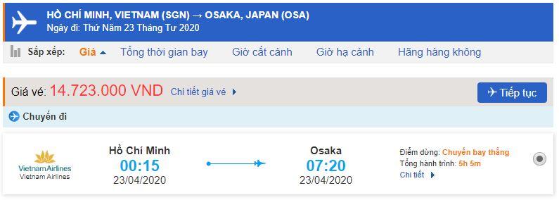 Vé máy bay đi Osaka từ Hồ Chí Minh